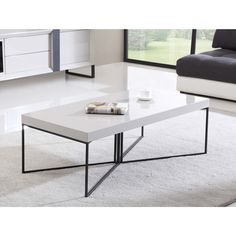B-Modern Mixer High-Gloss Cream and Black Steel Coffee Table ($459) ❤ liked on…