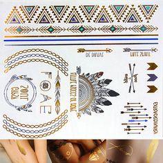 Gold Metallic Tattoo Silver Metallic Tattoos Blue by SomaArtTattoo