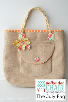 July Bag Sewing Pattern made from Burlap- so fun for a beach bag for summer!