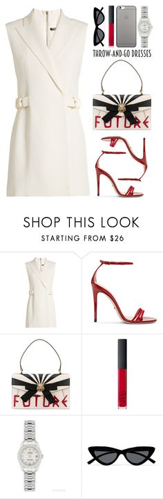 """easy outfitting: throw-and-go dresses"" by anabelisstyle ❤ liked on Polyvore featuring Balmain, Gucci, NARS Cosmetics, Rolex, Le Specs and Native Union"