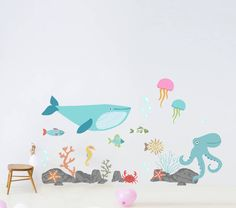 children's under the sea wall sticker set by oakdene designs | notonthehighstreet.com