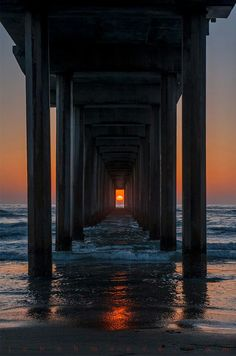 The pier in LA Jolla ... This only lines up this way twice a year