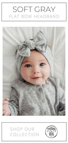 Grey white and black plaid infant baby size earwarmer headband with bow Super soft and stretchy for baby