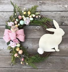 Easter Wreath, Easter Bunny Wreath, Easter Egg Decor - Trend Topic For You 2020 Decoration Evenementielle, Easter Bunny Decorations, Easter Wreaths Diy, Easter Decor, Easter Centerpiece, Easter Ideas, Diy Wreath, Grapevine Wreath, Spring Crafts