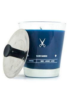 Father's Day Gifts For Dads Who Don't Wear This candle from Blind Barber is all man - leather, lavender & smoke scents bring the barber shop home.This candle from Blind Barber is all man - leather, lavender & smoke scents bring the barber shop home. Blind Barber, Master Barber, Fathers Day Gifts, Gifts For Dad, Old School Barber Shop, Wax Man, Barbers Cut, Barbershop Design, Small Candles