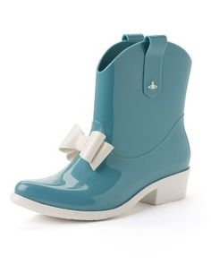 to brighten a rainy dy Aqua Cowboy Ankle Boots : Vivienne Westwood Women's Shoes Ankle Cowboy Boots, Western Boots, Ankle Booties, Vivienne Westwood Boots, Tap Shoes, Dance Shoes, Women's Shoes, Cute Rain Boots, Cowgirl Style