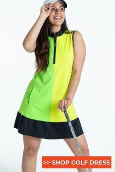 This contains: Sleeveless Golf Dress in Grass Green