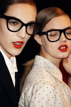 red lip + glasses backstage at marc by marc jacobs fall 2012