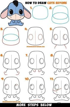 How to Draw a Cute Chibi / Kawaii Eeyore Easy Step by Step Drawing Tutorial for . - How to Draw a Cute Chibi / Kawaii Eeyore Easy Step by Step Drawing Tutorial for Kids & Beginners - Easy Pencil Drawings, Cute Easy Drawings, Doodle Drawings, Easy Disney Drawings, Cute Kawaii Drawings, Chibi Kawaii, Cute Chibi, Kawaii Art, Cute Kawaii Girl