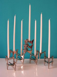 Set of 13 Vintage German Modernist Vogelflug (Bird Flight) Candle Holders by Hammonia Motard 1970s Nagel Quist. €260.00, via Etsy.