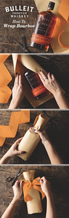 A bottle of Bulleit Bourbon is the perfect gift for any whiskey lover. For a quick and easy way to wrap the whiskey, attach a bow or place it in a gift bag. Otherwise, you can wrap the uniquely shaped (Whisky Bottle Gift)