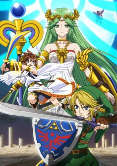 Artwork from Palutena's character trailer in Smash Bros 4 - Available now on Wii U!
