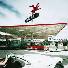 A Mobil gas station in Anaheim, California, 1956