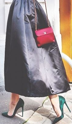 Emerald pumps and Chanel purse