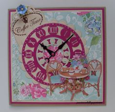 Theetijd 3d Cards, Marianne Design, Tea Time, Cardmaking, Birthday Cards, Scrapbooking, Paper Crafts, Clock, Music