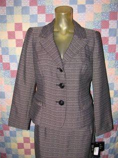Le Suit Petite Womens Career Business Suit Skirt & Blazer Jacket Size 10P (NEW) #LeSuitPetite #SkirtSuit