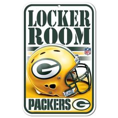 This Green Bay Packers Locker Room Sign by WinCraft is perfect! Green Bay Packers Gifts, Green Bay Packers Colors, Nfl Green Bay, Nfl Vikings, Minnesota Vikings, Nfl Broncos, Denver Broncos, Room Signs, Wall Signs