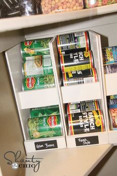 Make these for the Pantry! Keeps everything rotated and easy to see what you have and what to put on the grocery list. ideas food Pantry Ideas - DIY Canned Food Storage - Shanty 2 Chic Organisation Hacks, Recipe Organization, Pantry Organization, Pantry Ideas, Pantry Can Organizer, Storage Organizers, Diy Organizer, Canned Food Storage, Pantry Storage