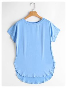 Round Neck High Low Tee (Sky blue)