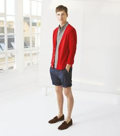 Shop this look on Lookastic:  http://lookastic.com/men/looks/grey-polo-red-cardigan-navy-shorts-dark-brown-tassel-loafers/9360  — Grey Polo  — Red Cardigan  — Navy Vertical Striped Shorts  — Dark Brown Suede Tassel Loafers