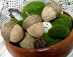 Burlap Acorns from Easter Eggs