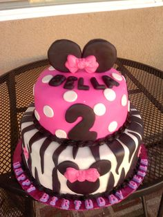 Pink and Zebra Minnie Mouse Cake