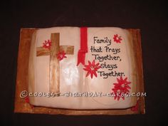 This was for a weekend family reunion that ended on a sunday with a church service. I made a bible shaped cake out of rectangle shaped pans, froze the cak Fondant Cakes, Cupcake Cakes, Cupcakes, Cool Birthday Cakes, It's Your Birthday, Family Tree Cakes, Bible Cake, Rectangle Shape, Creative Cakes