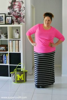 Plus size maxi skirt outfit | Suger Coat It | Lazy Days Neon {She Wore What} | http://sugercoatit.com