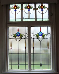 Edwardian stained glass window from the old Wesleyan church Stained Glass Door, Stained Glass Designs, Stained Glass Panels, Stained Glass Projects, Stained Glass Patterns, Leaded Glass, Beveled Glass, Mosaic Glass, Art Nouveau