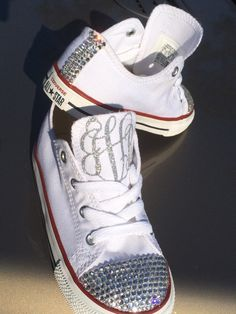 Glass Rhinestone Monogram Converse by BLSSDEmbellishments on Etsy, $90.00