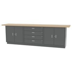 """WALL WORKBENCH - All welded construction. Overall size - 120""""l x 24""""d x 36.75""""h - FourDrawers and Two Double Door Base Cabinets."""
