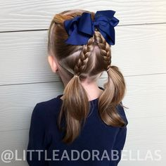 It's been a loooong while since we've posted on here. He… Hello hair friends! It's been a loooong while since we've posted on here. Here is a cute twist on just your normal pigtails! We have a lot more hairstyles coming soon! Girls Hairdos, Baby Girl Hairstyles, Princess Hairstyles, Girl Haircuts, Prom Hairstyles, Cute Kids Hairstyles, Teenage Hairstyles, Braided Bun Hairstyles, Braided Buns