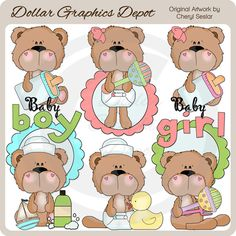 BoBo and Babs Baby Bears Clip Art Collection - Only $1.00 at www.DollarGraphicsDepot.com : Great for printable crafts, scrapbook pages, greeting cards, baby shower invitations, birth announcements, printable photo cards, candy bar wrappers, iron-on transfers, and much more!