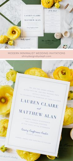 Customize these minimalist wedding invitations by adding an envelope liner and changing the colors - perfect for a spring, summer, fall, or winter wedding!