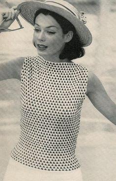Vogue Knitting 1960 Diamond Check by vintagemadamedefarge on Etsy, $2.50