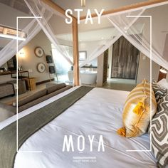 sleek, modern design and luxurious surroundings… it can only be Moya! African Textiles, Crisp, Modern Design, Villa, Plush, Luxury, Bed, Furniture, Home Decor