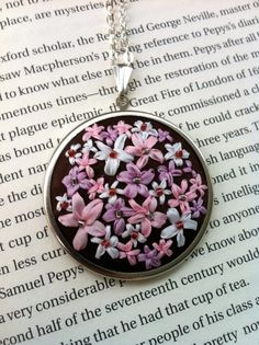 Pink and Lavender Flower Pendant, Silk Ribbon Embroidered Necklace handmade by BeanTown Embroidery