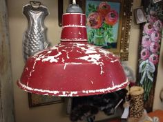 Vintage Red Industrial Light- Would Look Great Over Kitchen Island