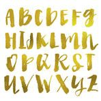 Gold Alphabet. Modern Calligraphy Alphabet. Brush Lettering Alphabet Letters With Gold Foil Texture. Gold Foil Calligraphy Alphabet