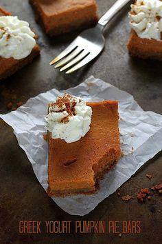 Greek Yogurt Pumpkin Pie Bars |Baker By Nature #pumpkin