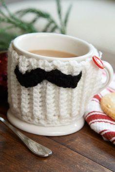 Free Mustache Mug Hug Crochet Pattern from www.RedHeart.com