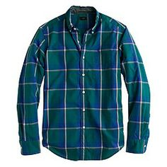 J.Crew Secret Wash shirts in faded jade plaid or other colors (30% off with code GIFTNOW) size small if regular fitted or size medium if slim fit.