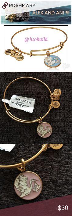 Alex and Ani pink stork bracelet Brand new authentic Alex and Ani pink stork bracelet in gold. Rare in pink and gold. Alex & Ani Jewelry Bracelets