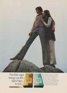 Items similar to 1971 Tall N Slim Cigars Ad Vintage Tobacco Advertising Print Hipster Couple Smoking Photo Man Retro Bar Wall Art Decor on Etsy Vintage Cigarette Ads, Vintage Ads, Charcoal Filter, Print Advertising, Cigars, Slim, Smoking, Weird, Food