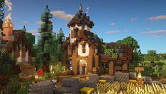 Casa Medieval Minecraft, Minecraft Building Blueprints, Capas Minecraft, Minecraft House Plans, Minecraft Cottage, Minecraft Castle, Cute Minecraft Houses, Minecraft Plans, Minecraft House Designs