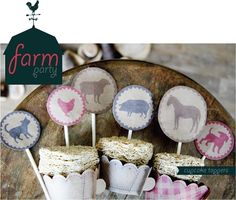 Farm party printables for a sweet old fashioned party—cupcake toppers, cupcake wrappers, banner, and straw toppers/drink labels!