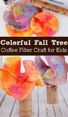Colorful Fall Tree Coffee Filter Craft for Kids: Easy to make to decorate for fall or to make while learning about trees (preschool, kindergarten, autumn) Fall Preschool Activities, Preschool Crafts, Preschool Kindergarten, Eyfs Activities, Daycare Crafts, Toddler Activities, Coffee Filter Crafts, Coffee Filters, Tree Study