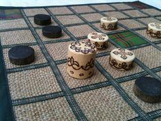Brandubh - the ancient Irish board game for 2 players. Tartan, Sack cloth, Woollen, Hessian, Pine, Wood, Pyrography, Ribbon, wax, Natural