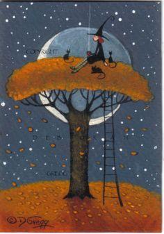 "Halloween ""Me Time"" aceo by Deborah Gregg"