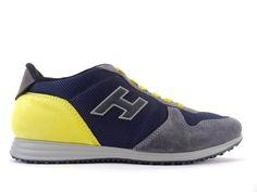 bd7912daf8395 Sneakers Hogan - Olympia X en toile marine, cuir noir et nubuck gris et  jaune